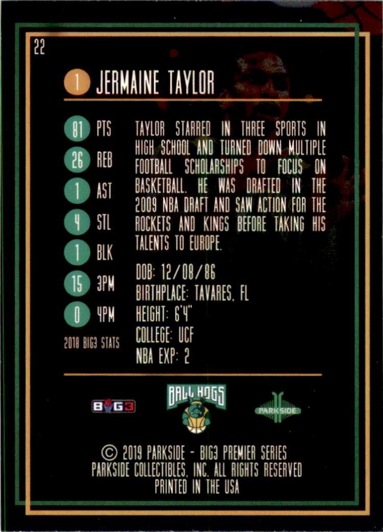 2019-20 Parkside BIG3 Jermaine Taylor #22 card back image