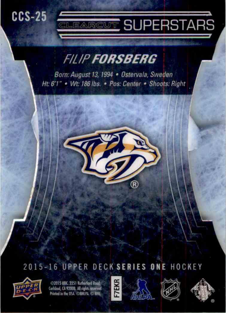 2015-16 Upper Deck Clearcut Superstars Filip Forsberg #CCS-25 card back image
