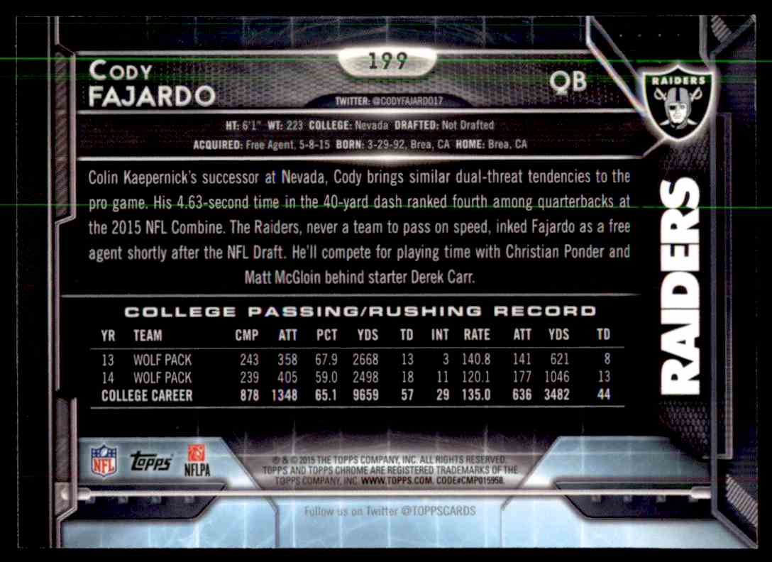 2015 Topps Chrome Purple Refractor Cody Fajardo #199 card back image