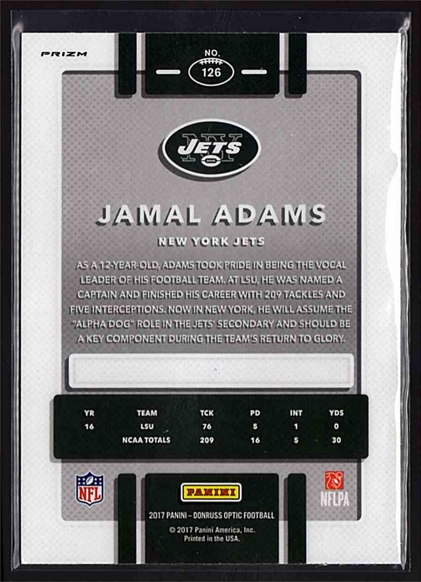 2017 Donruss Optic Pink Jamal Adams #126 card back image