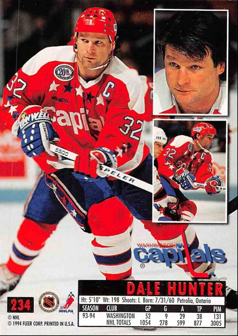1994-95 Ultra Dale Hunter #234 card back image