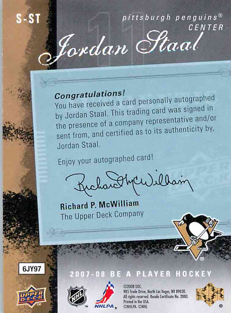 2007-08 Upper Deck Be A Player Jordan Staal #S-ST card back image