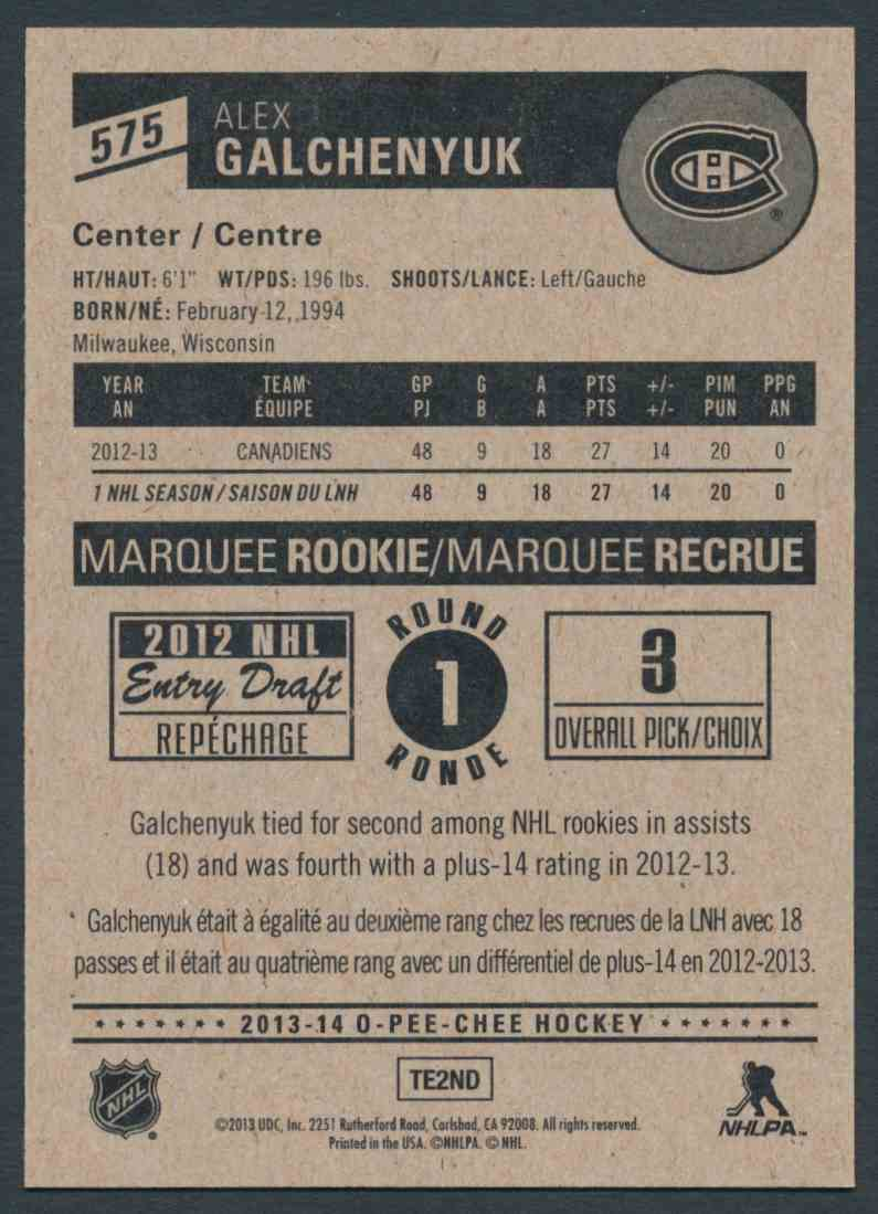 2013-14 O-Pee-Chee Alex Galchenyuk #575 card back image