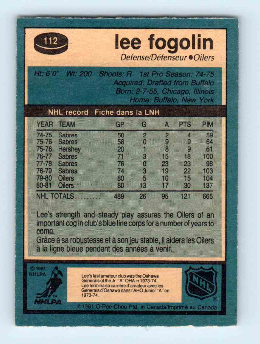 1981-82 O-Pee-Chee Lee Fogolin #112 card back image