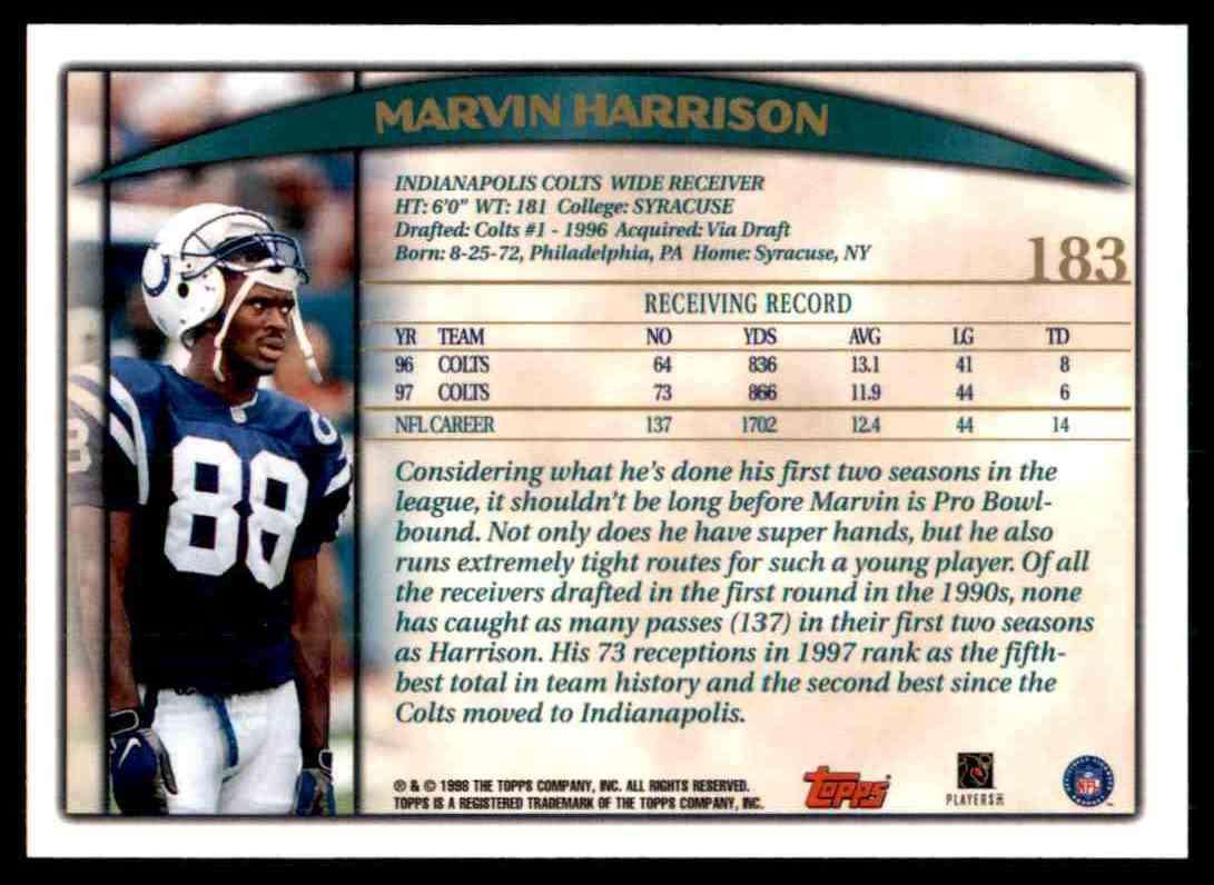 1998 Topps Marvin Harrison #183 card back image