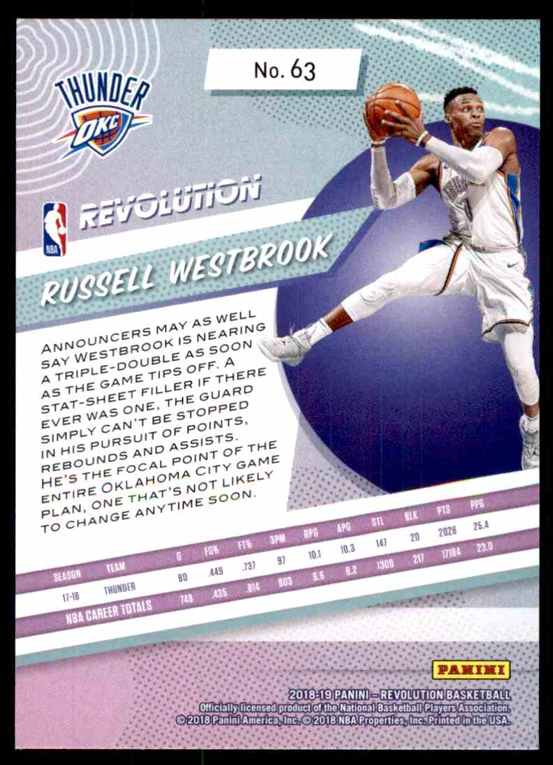 2018-19 Panini Revolution Base Russell Westbrook #63 card back image