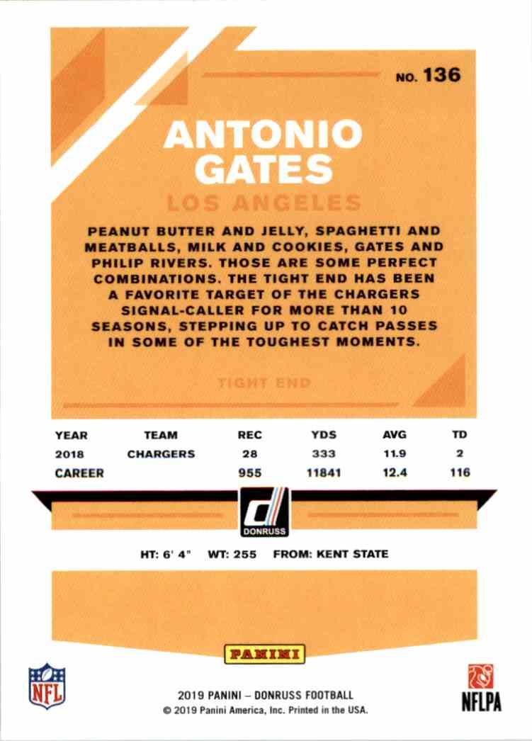 2019 Panini Donruss Antonio Gates #136 card back image