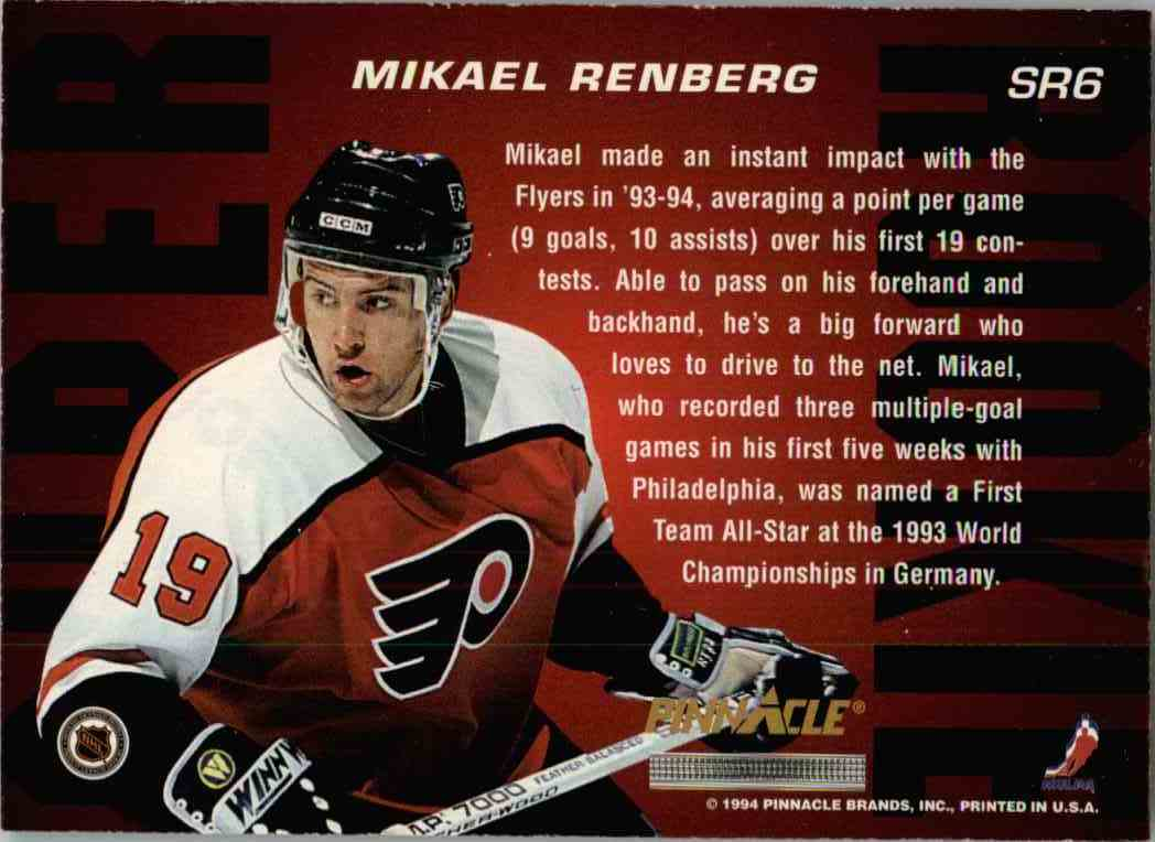 1994-95 Pinnacle Mikael Renberg #SR6 card back image