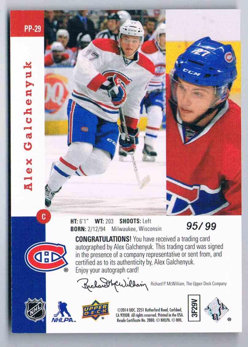 2013-14 Upper Deck SP Authentic 1993-94 SP Retro Premier Prospects Gold Autographs Alex Galchenyuk #PP-29 card back image