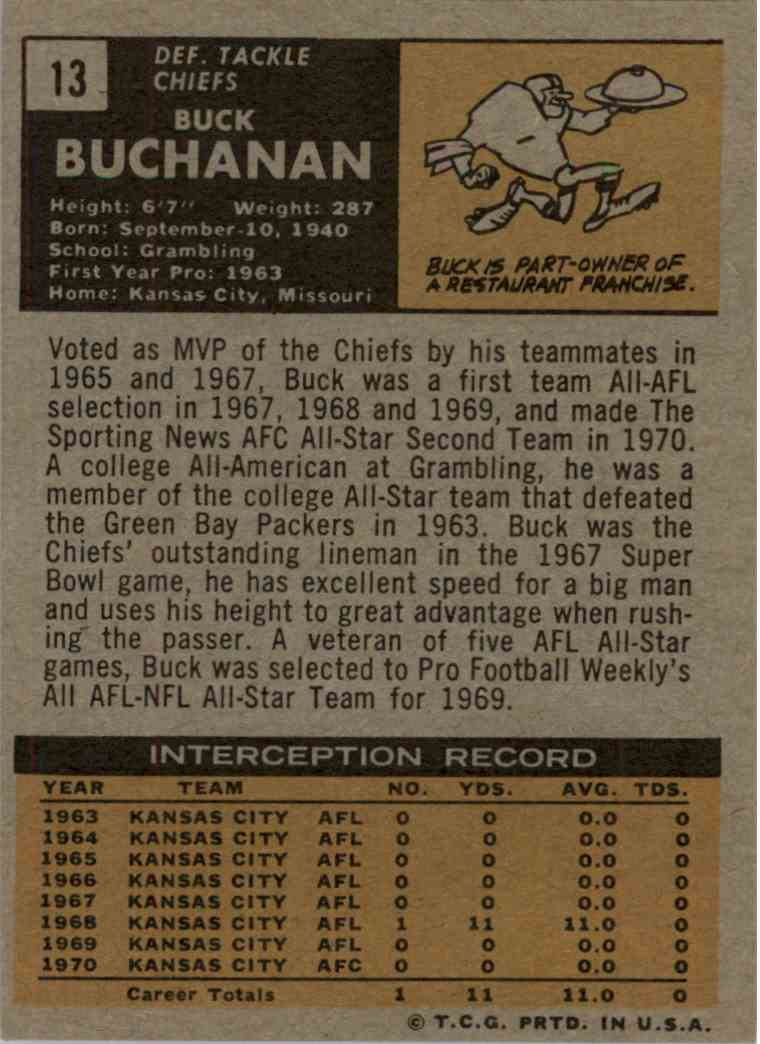 1971 Topps Buck Buchanan #13 card back image