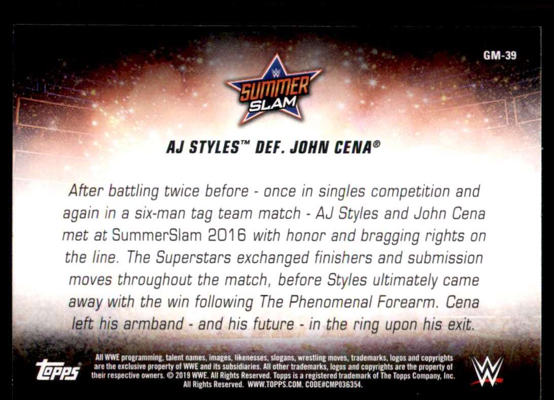 2019 Topps Wwe SummerSlam Greatest Matches And Moments Aj Styles Def. John Cena #GM39 card back image