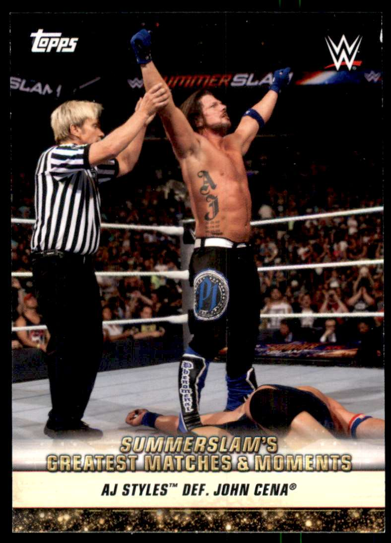 2019 Topps Wwe SummerSlam Greatest Matches And Moments Aj Styles Def. John Cena #GM39 card front image