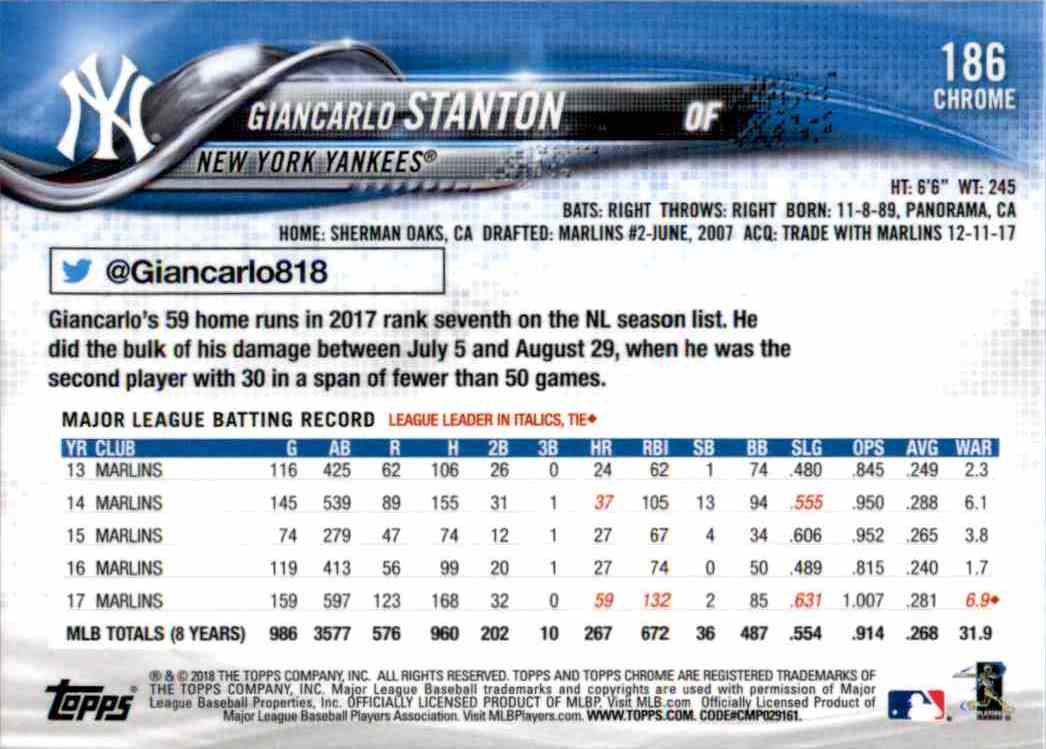 2018 Topps Chrome Giancarlo Stanton #186 card back image