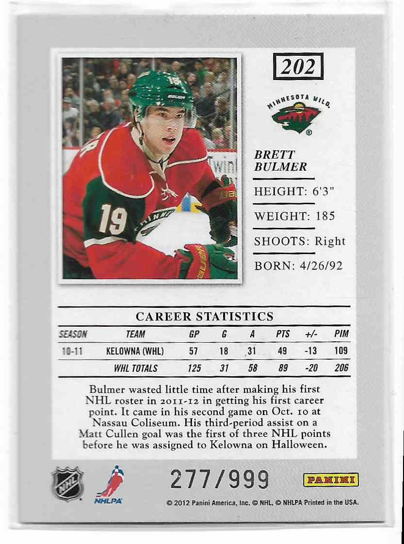 2011-12 Panini Elite Brett Bulmer #202 card back image