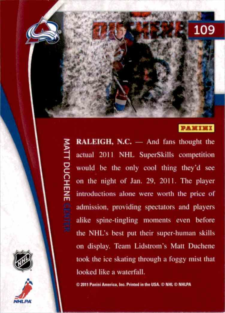 2011-12 Pinnacle Matt Duchene #109 card back image