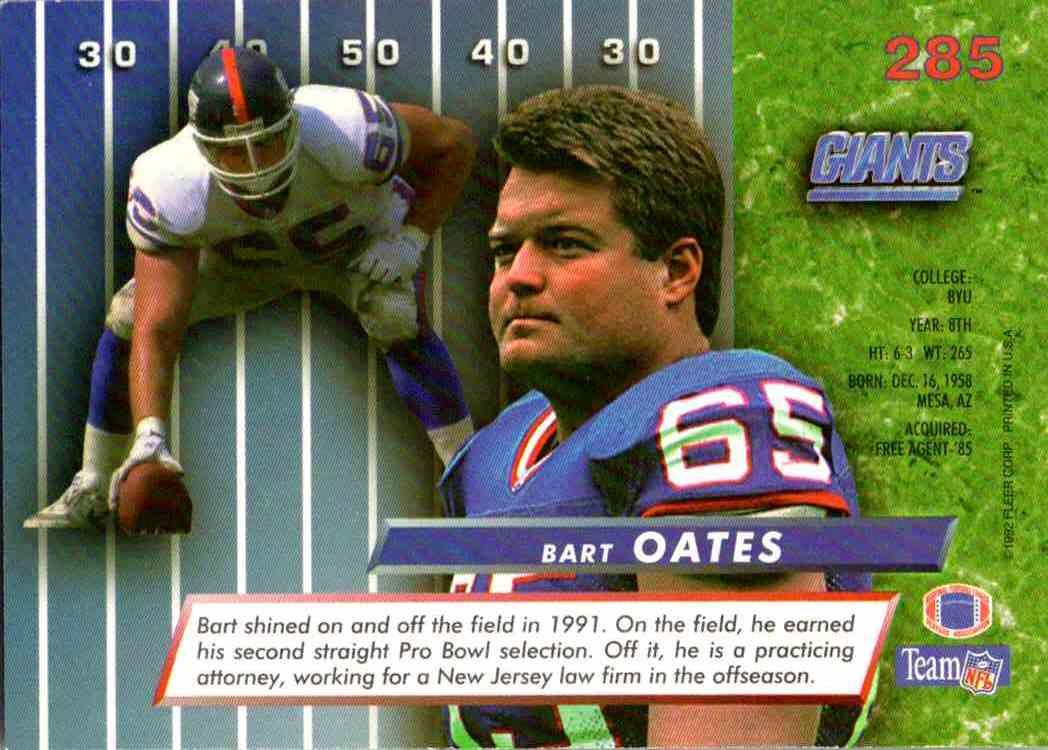 1992 Fleer Ultra Bart Oates #285 card back image