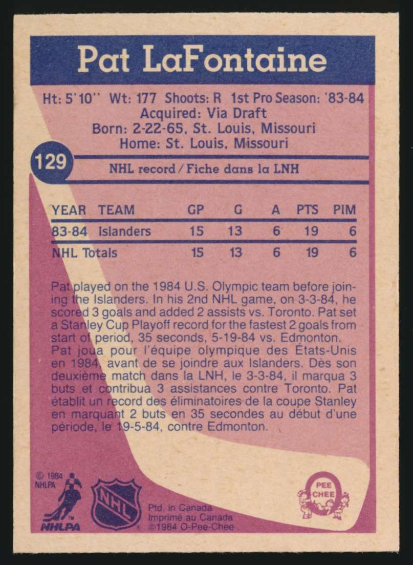 1984-85 OPC Pat LaFontaine #129 card back image