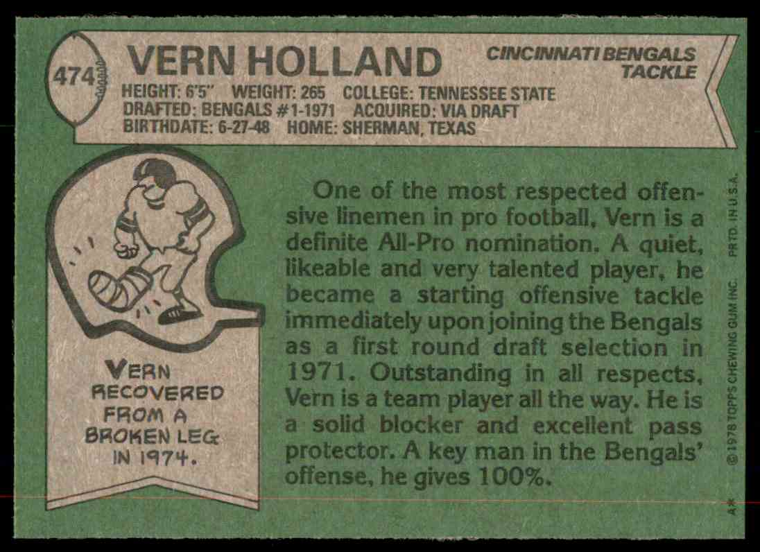 1978 Topps Football Vern Holland #474 card back image