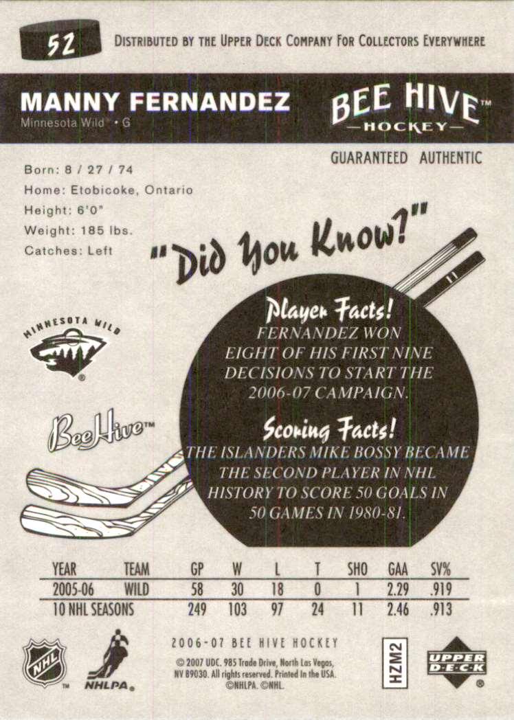 2006-07 Upper Deck Beehive Manny Fernandez #52 card back image