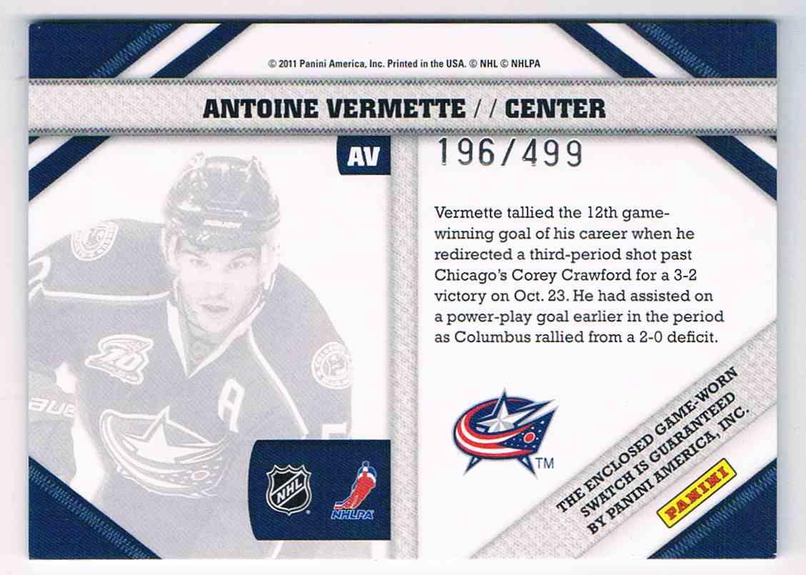 2010-11 Pinnacle Threads Antoine Vermette #AV card back image