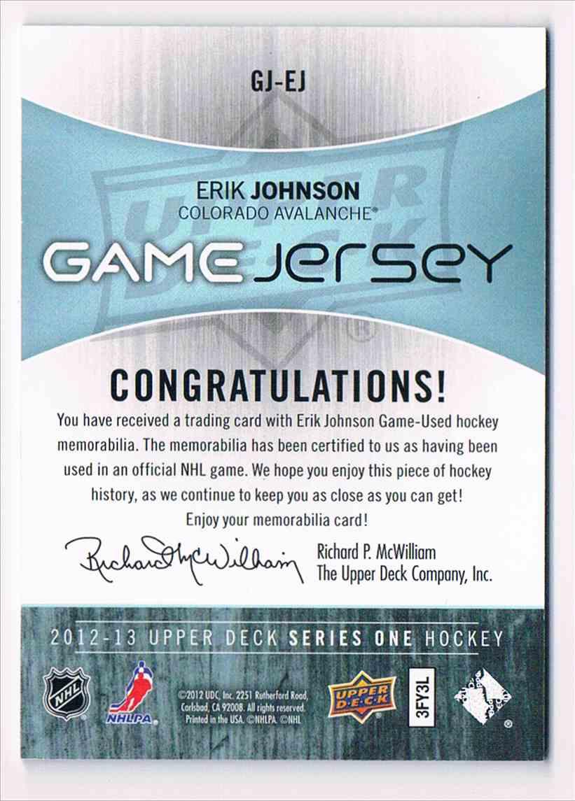 2012-13 Upper Deck Game Jersey Erik Johnson #GJ-EJ card back image
