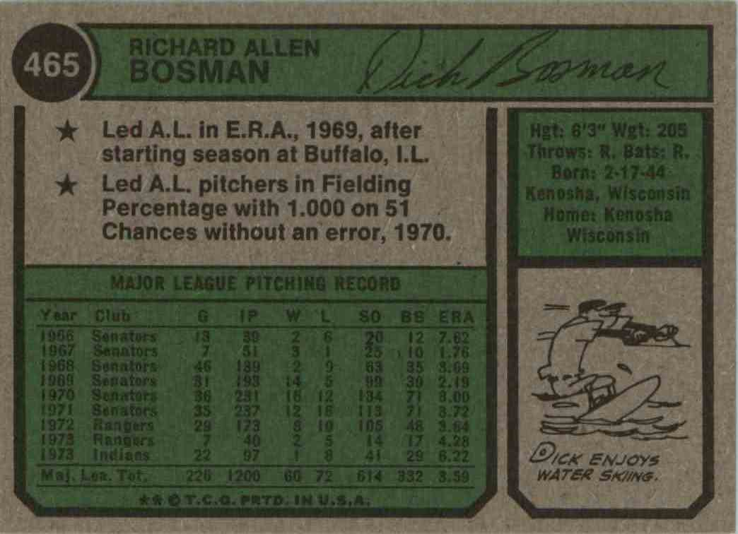 1974 Topps Dick Bosman #465 card back image