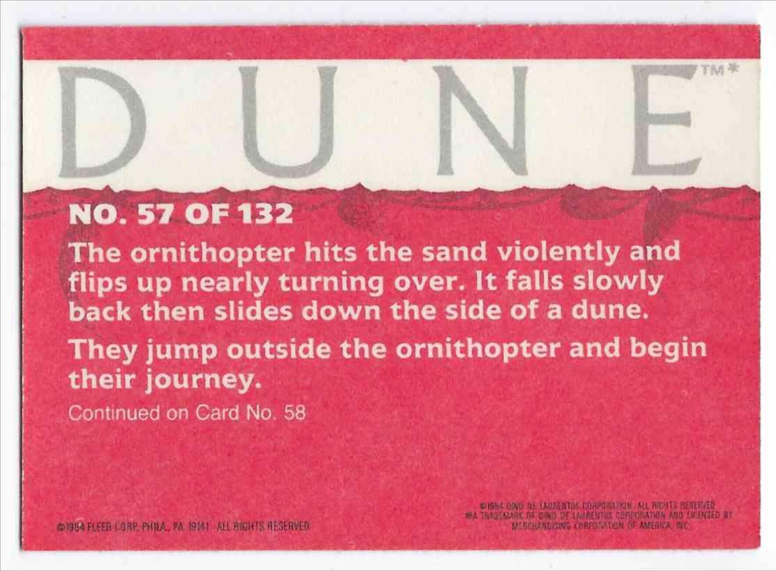1984 Fleer Dune Paul And Jessica Crash In The Desert #57 card back image