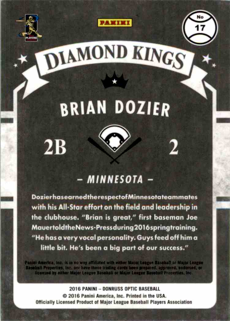 2018 Panini Optic Brian Dozier #17 card back image