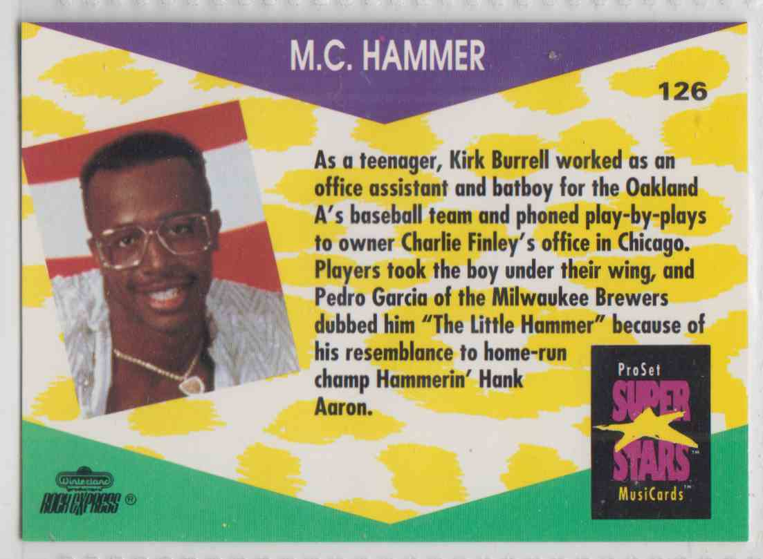 1991 Pro Set SuperStars MusiCards M.C. Hammer #126 card back image