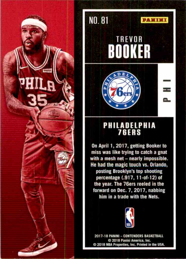 2017-18 Panini Contenders Base Trevor Booker #81 card back image