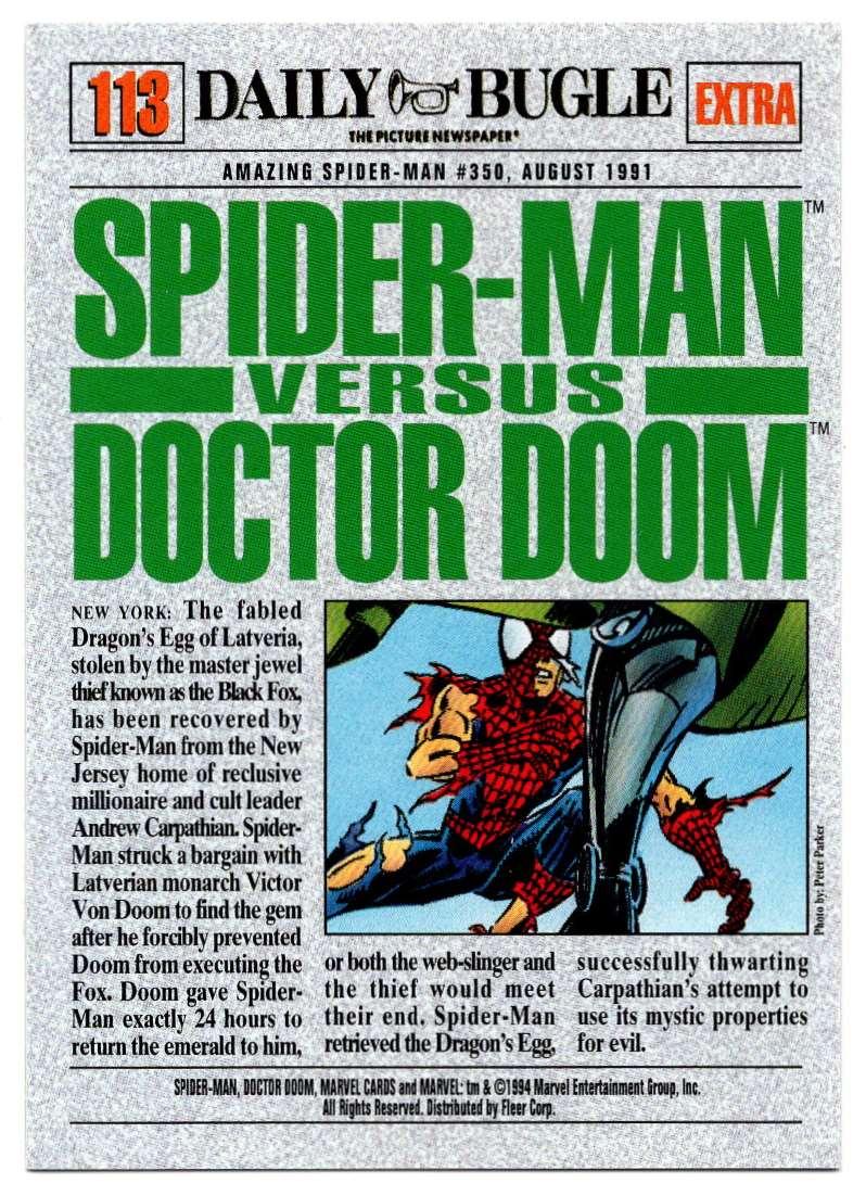 1994 Amazing Spider-Man Spider-Man Vs Doctor Doom #113 card back image