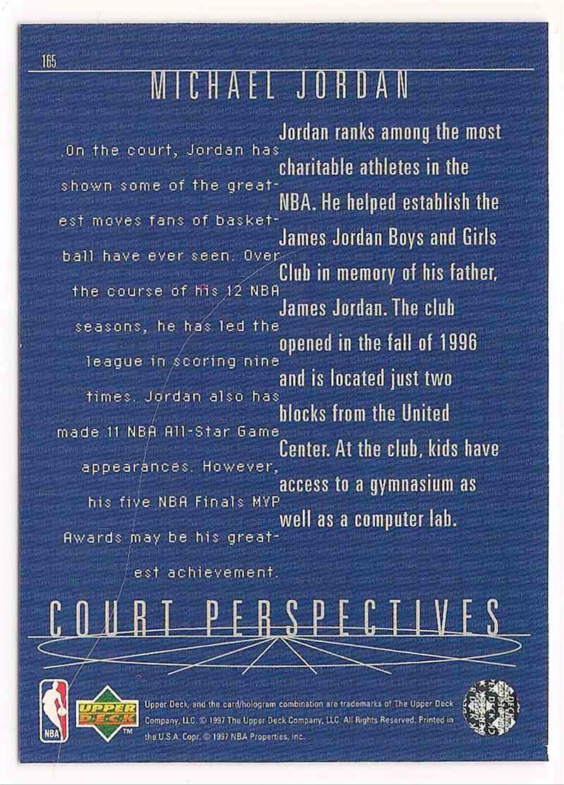 1997-98 Upper Deck Court Perspectives Michael Jordan #165 card back image