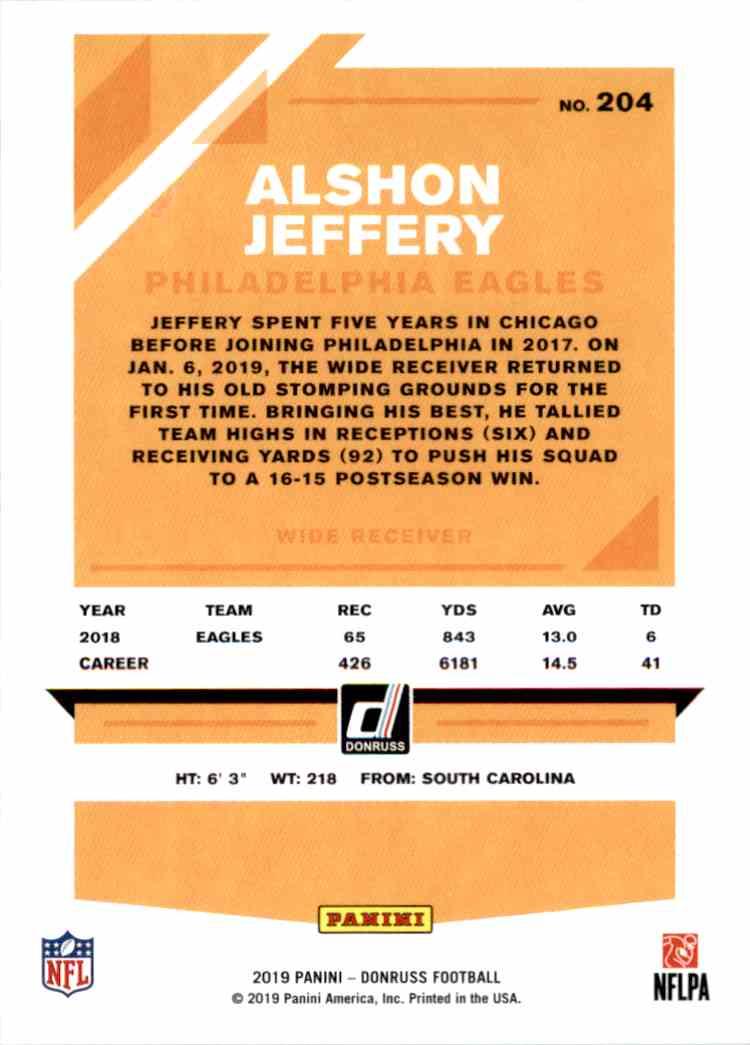 2019 Panini Donruss Alshon Jeffery #204 card back image