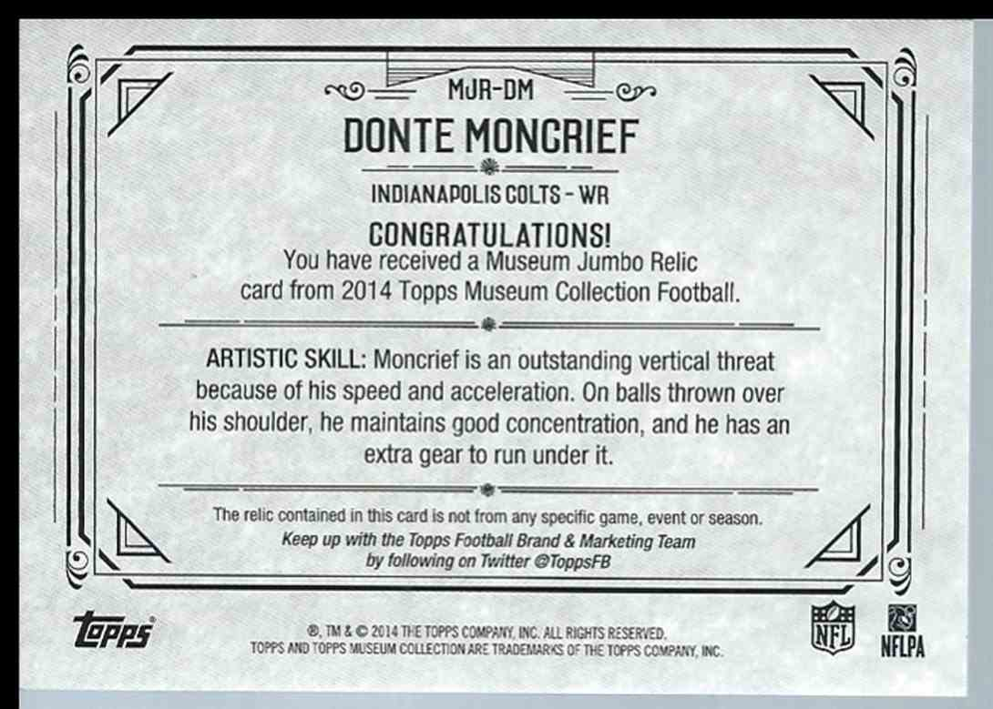 2014 Topps Museum Collection Donte Moncrief #MJRDM card back image