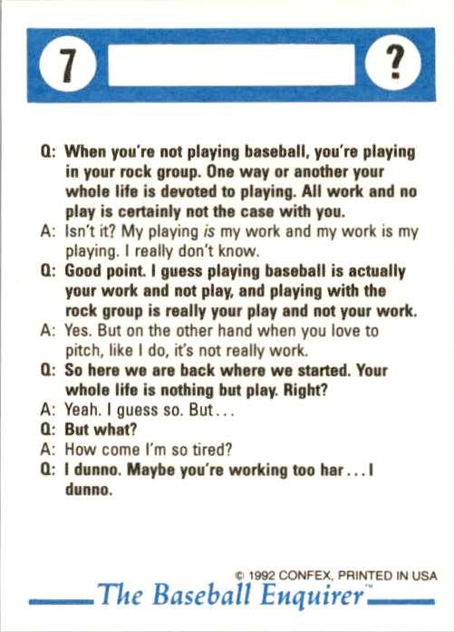 1992 Confex Baseball Enquirer Jack McDowell #7 card back image