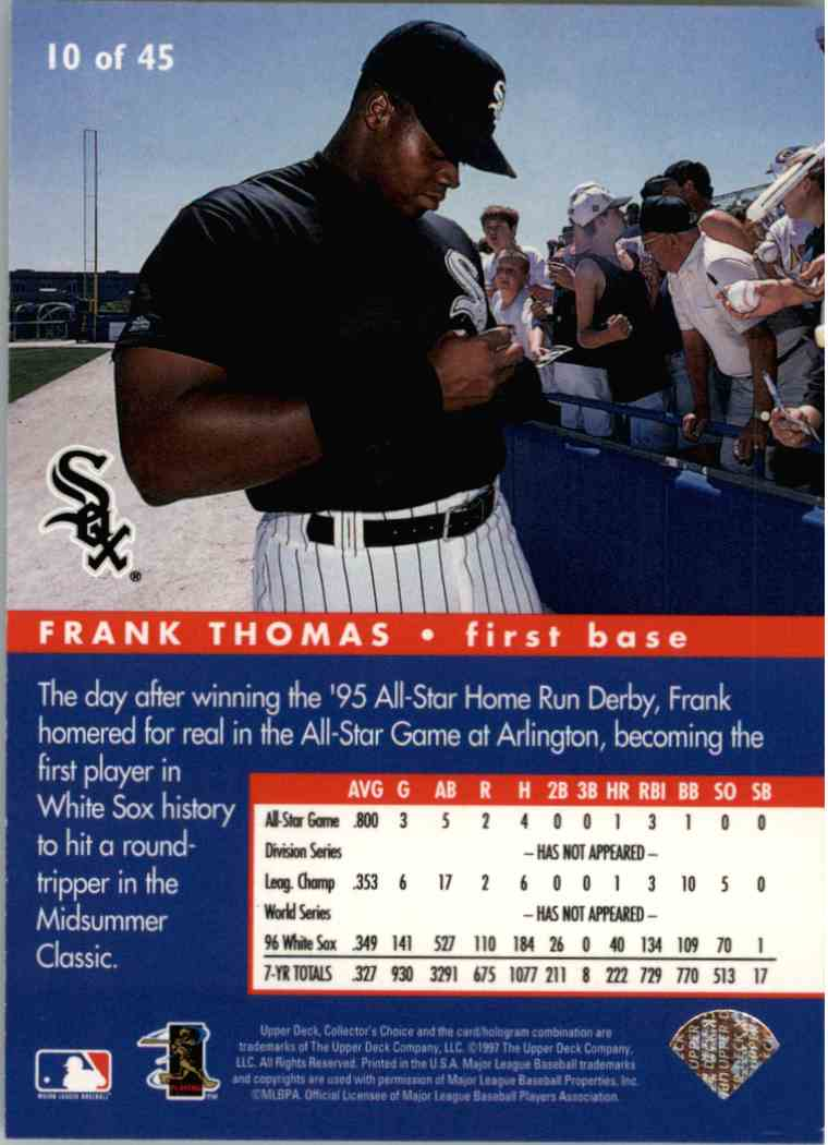 1997 Upper Deck UD Choice Frank Thomas #10 card back image