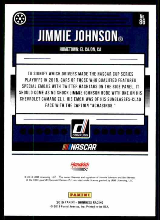 2019 Donruss Jimmie Johnson #86 card back image
