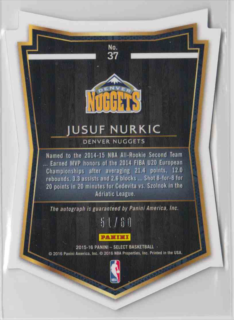 2015-16 Panini Select Die-Cut Autographs Jusuf Nurkic #37 card back image