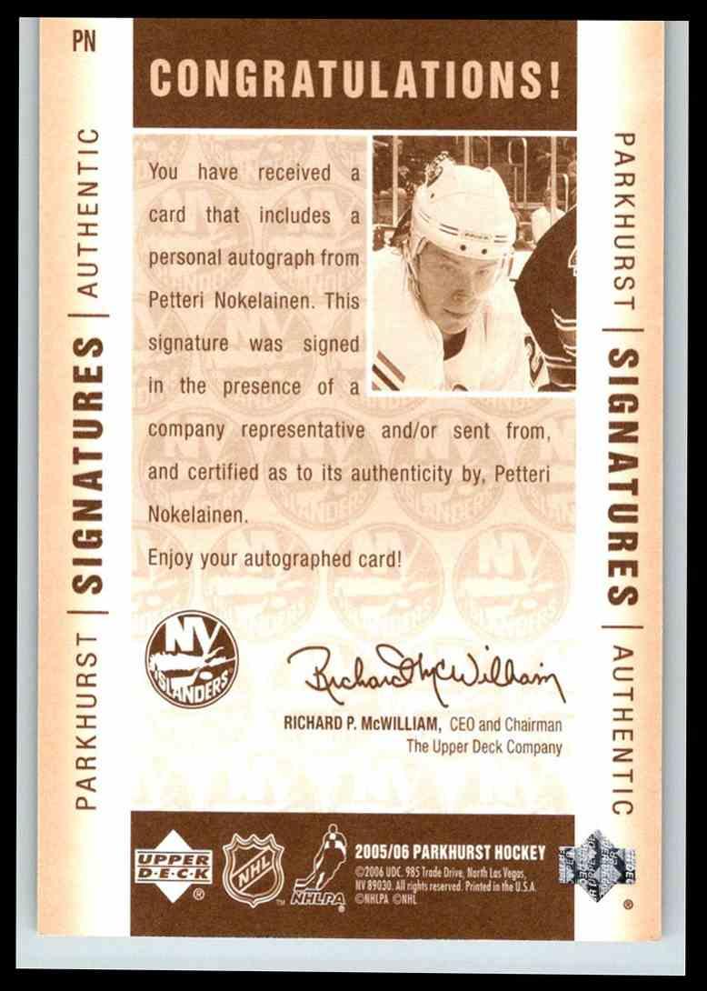 2005-06 Parkhurst Signatures Petteri Nokelainen #PN card back image