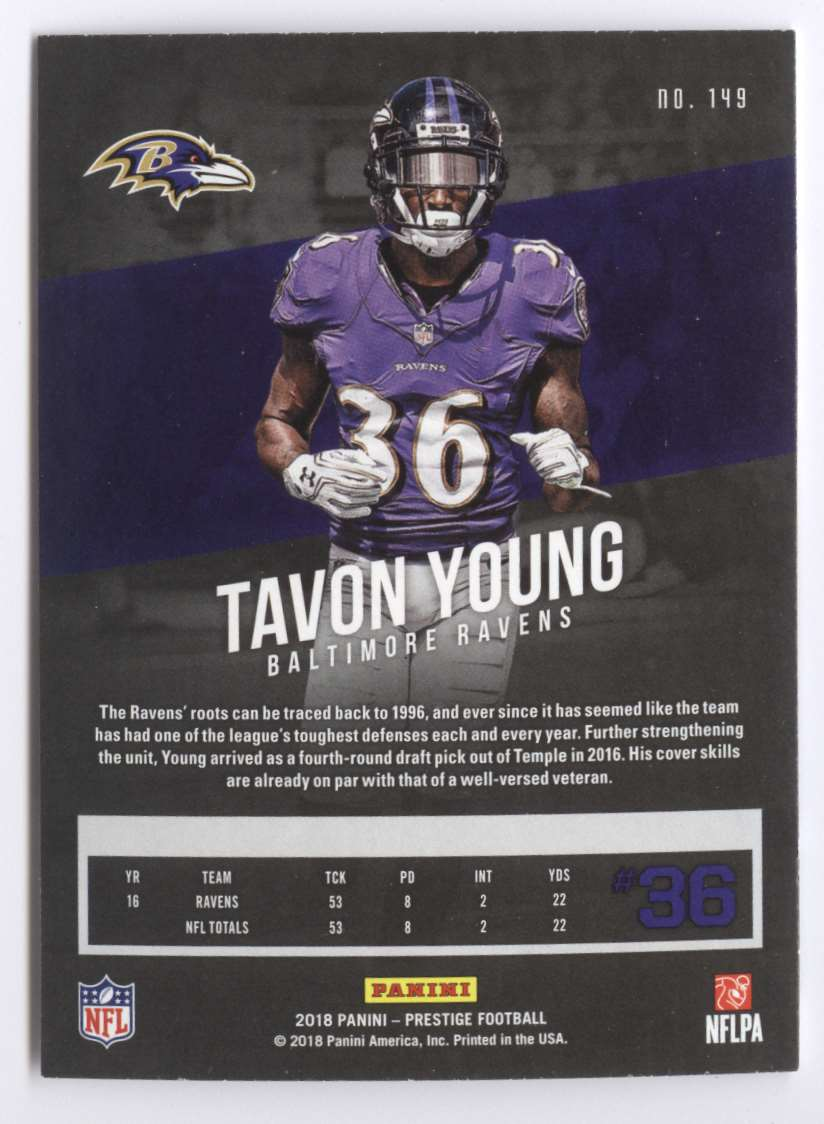 2018 Panini Prestige Tavon Young #149 card back image