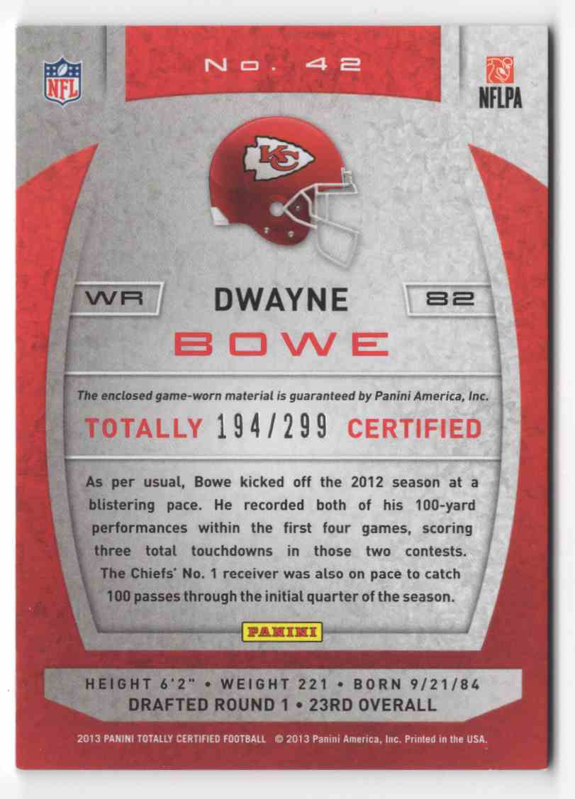 2013 Totally Certified Red Materials Dwayne Bowe #42 card back image