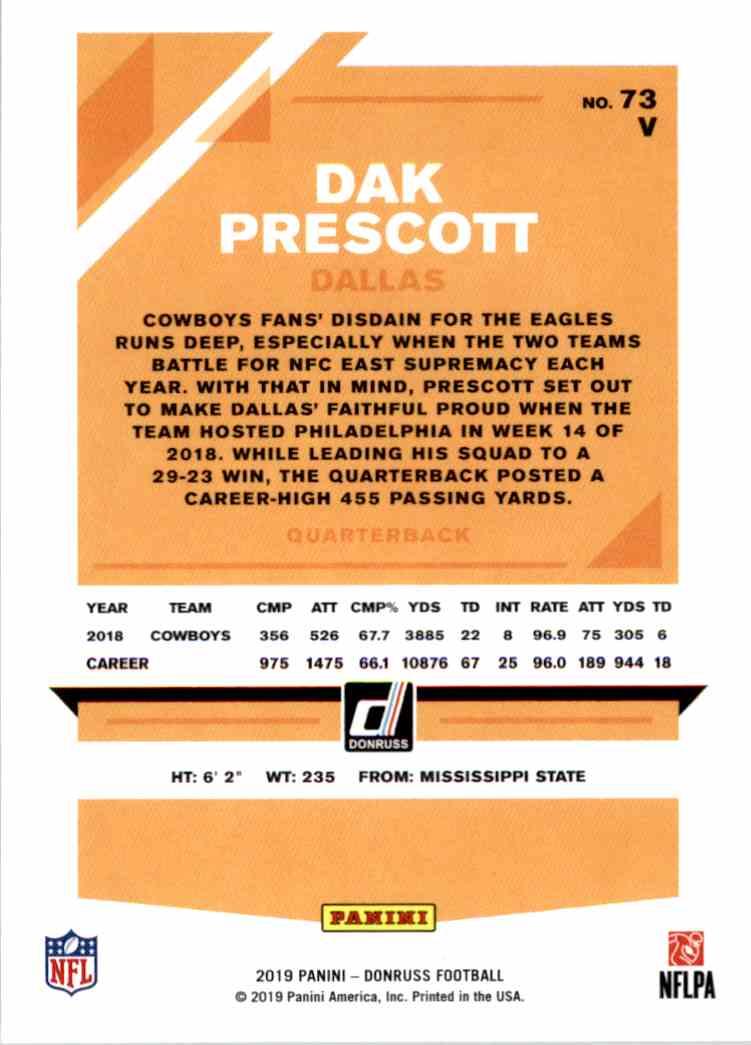 2019 Panini Donruss Dak Prescott #73V card back image