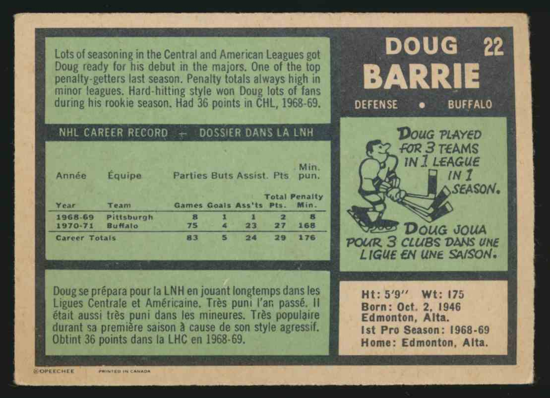 1971-72 O-Pee-Chee Doug Barrie #22 card back image
