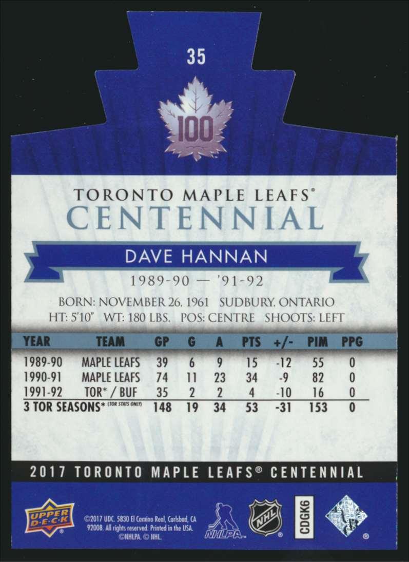 2017-18 UD Maple Leafs Centennial Die Cut Dave Hannan #35 card back image