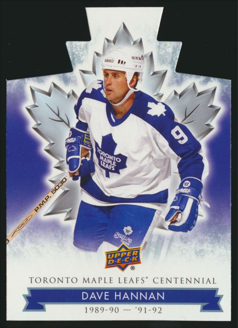 2017-18 UD Maple Leafs Centennial Die Cut Dave Hannan #35 card front image