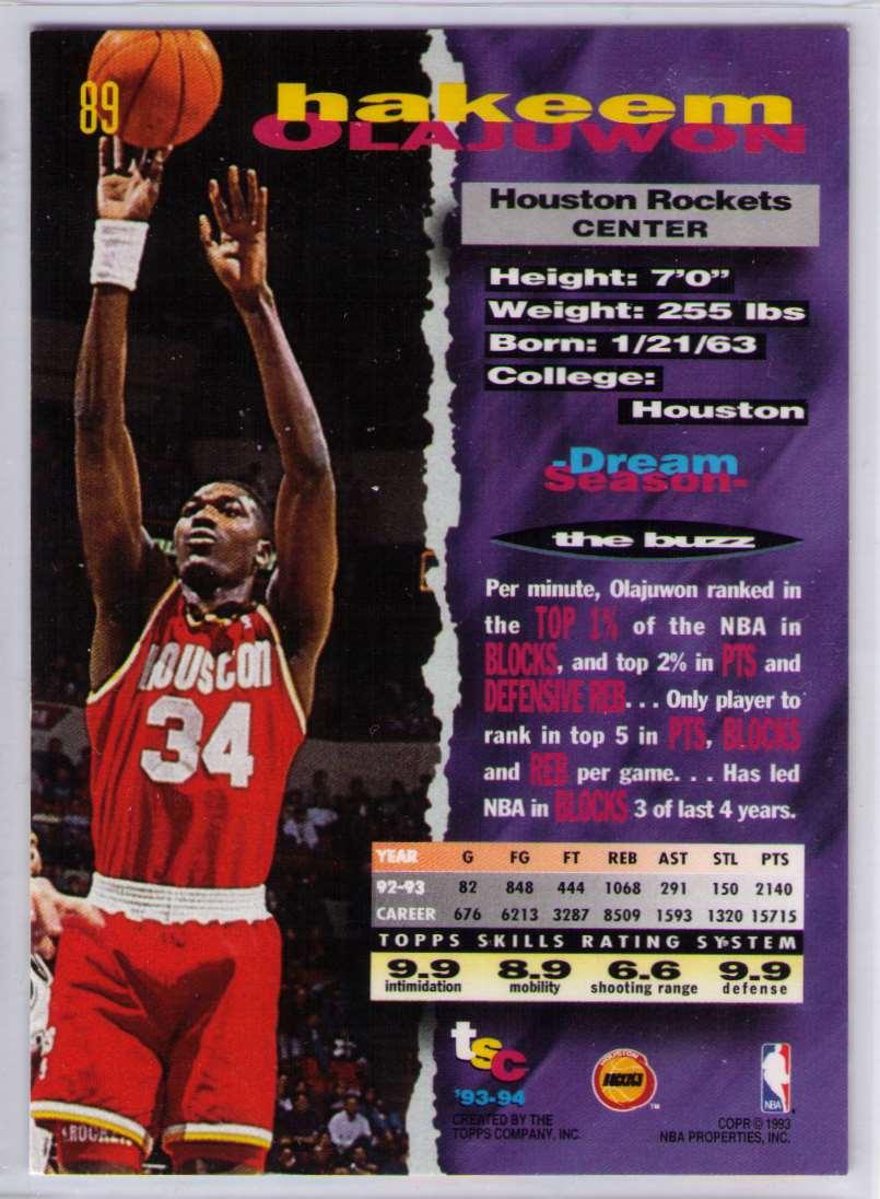 1993-94 Topps Stadium Club Hakeem Olajuwon #89 card back image