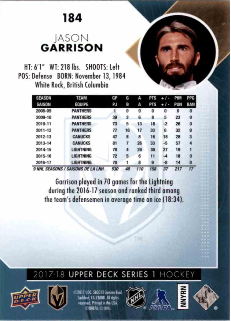 2017-18 Upper Deck Series 1 Jason Garrison #184 card back image