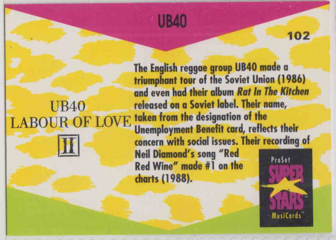 1991 Pro Set SuperStars MusiCards Ub40 #102 card back image