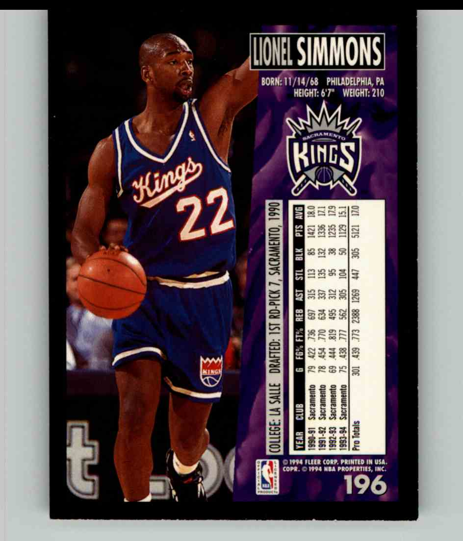 1994-95 Fleer Lionel Simmons #196 card back image