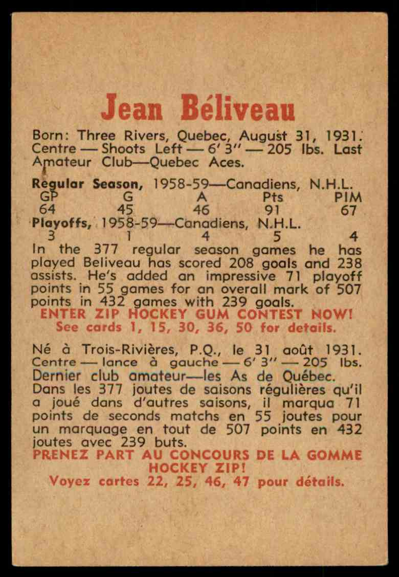 1959-60 Parkhurst Jean Béliveau #6 card back image